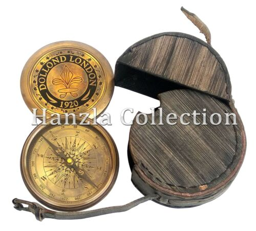 Nautical Maritime Brass Pocket Compass Dollond London  Magnetic Camping Hiking