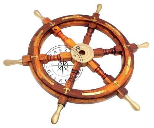 """Vintage Nautical Brass Anchor 24"""" Wooden Ship Wheel Boat Steering Home Decor"""