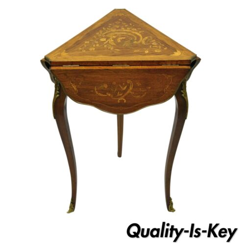 French Louis XV Style Satinwood Inlay Drop Leaf Side Table w/ Bronze Ormolu