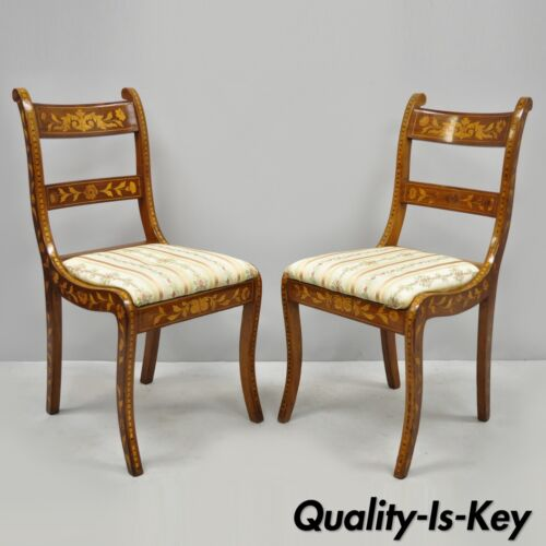 Pair of 19th C. Satinwood Dutch Marquetry Inlay Regency Continental Side Chairs