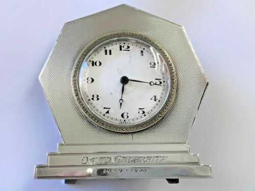 Art Deco Engine Turned Silver Clock - Joseph Gloster - Birmingham  - 1936