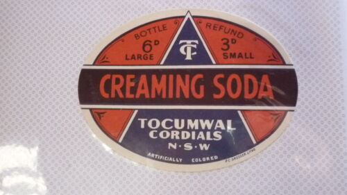 OLD AUSTRALIAN SOFT DRINK CORDIAL LABEL, TOCUMWAL NSW CREAMING SODA c1950s