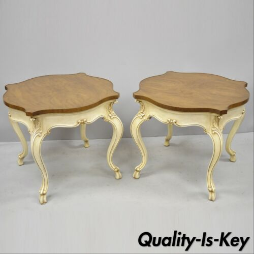 Pair of Karges French Louis XV Regency Style Burr Walnut Turtle Top End Tables