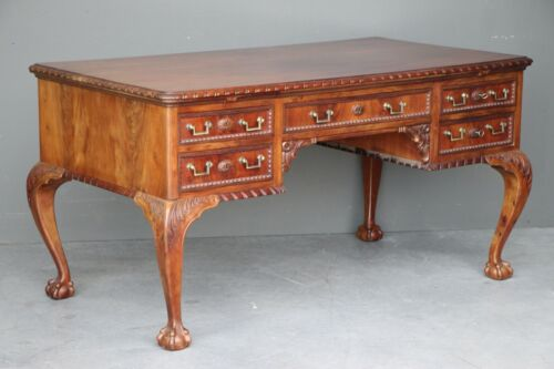 Antique English Chippendale writing desk carved ornate mahogany vintage Georgian