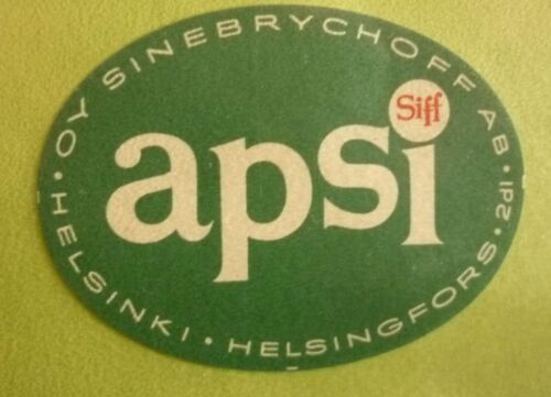 OLD FINLAND SOFT DRINK CORDIAL LABEL, 1960s SINEBRYCHOFF HELSINKI, SIFF APSI