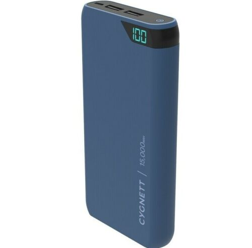 NEW Cygnett ChargeUp Blue 15,000 mAh Portable Power Bank Smartphone Tablet!
