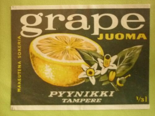 OLD FINLAND SOFT DRINK CORDIAL LABEL, 1960s OY PYYNIKKI TAMPERE, GRAPE JUOMA