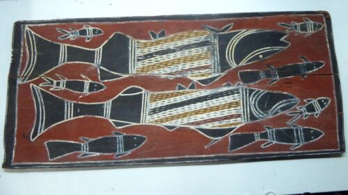 OLD ABORIGINAL OCHRE BARK PAINTING DJIBBERJON DJINANG TRIBE NJALK HERRING FISH