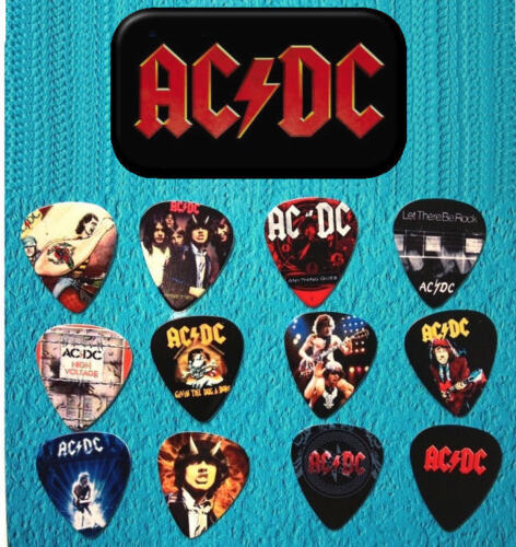 AC/DC Guitar Pick Tin Includes a Set of 12 Guitar Picks