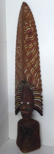 LARGE PNG TOTEM FIGURE STATUE CEREMONIAL HEADDRESS OCHRE PAINTED COWRIE SHELL