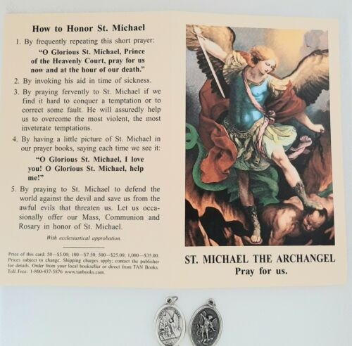 ST. MICHAEL SAINT MICHAEL 4 FAITH BLESSED MEDALS PRAYER CARD PENDANT CHARM