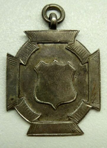 ANTIQUE STERLING SILVER HALLMARKED FOB MEDAL - NO INSCRIPTION - BLANK (w37)
