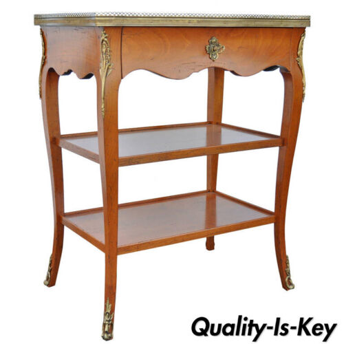 Quality French Louis XV Style One Drawer Lamp End Table with Bronze Ormolu