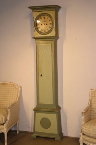 Provincial antique painted longcase clock  antique grandfather Scandinavian 1781