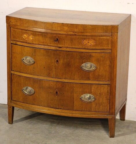 Antique marquetry inlaid chest of drawers Danish 1820 original bow front bedside