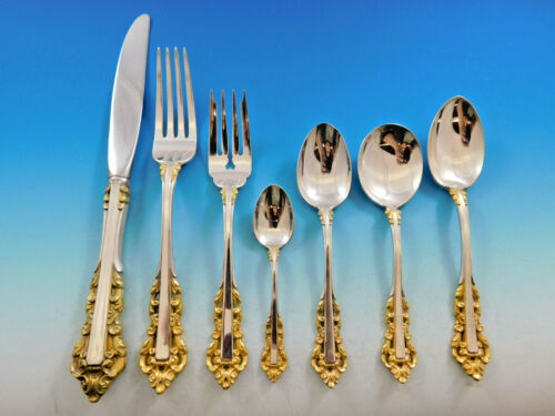 Medici Golden by Gorham Sterling Silver Flatware Set 8 Service 63 pieces Dinner