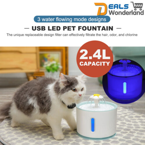LED USB Electric Pet Water Fountain Cat/Dog Drinking Dispenser 2.4L /filters