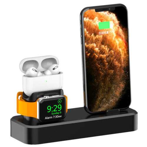 3in1 Silicone Charger Holder Charging Dock Stand For Apple iWatch AirPods iPhone