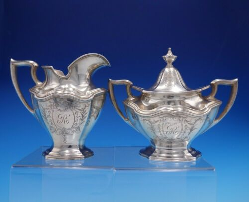 Hepplewhite Engraved by Reed and Barton Sterling Silver Sugar Creamer 2pc #3235