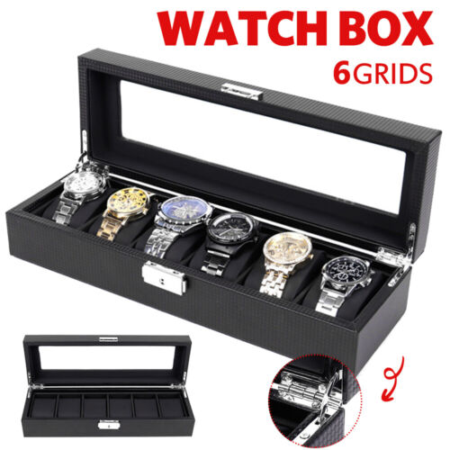 🔥6 GridLuxury Watch Box Carbon Fiber Gift Storage Case Jewelry Display Organize <br/> ❤️Presale, will be in stock on 15th July❤️