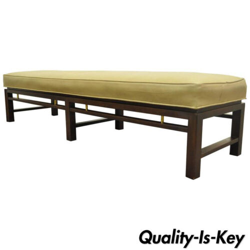 Mid Century Modern Edward Wormley for Dunbar Leather Upholstered Mahogany Bench