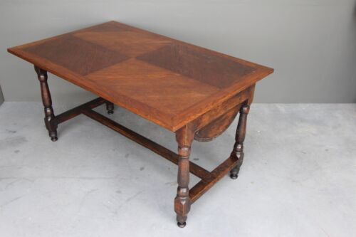 Antique French provincial carved oak refectory dining table farmhouse 1820's