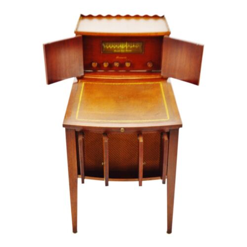 Vintage 1940's Brunswick Radio with Panatrope Tuscany Leather Top End Table
