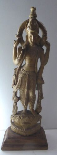 FINELY CARVED WOODEN TIMBER LORD SHIVA STATUE DIETY ICON