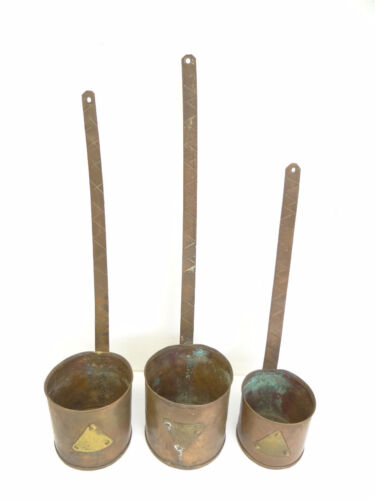 Antique Old 1880 French France M Zipper Copper Chefs Culinary Soup Ladles Used