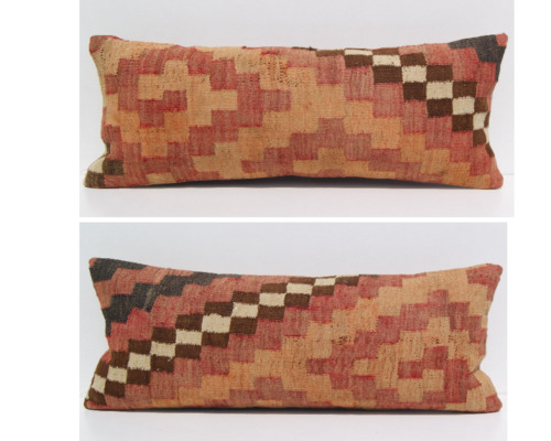 """two cushion Persian kilim pillow covers hand woven rectangle area rugs 24""""X12"""""""