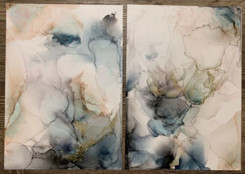 Abstract Ink Art - Two-piece Work