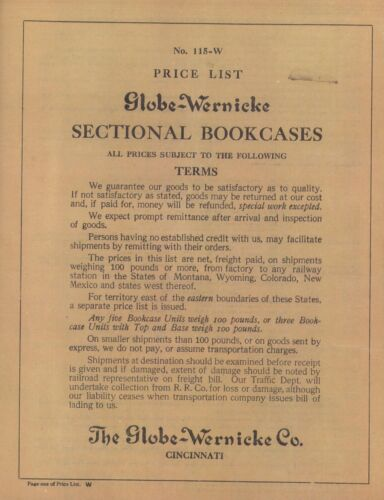 RARE 1915 GLOBE WERNICKE® SECTIONAL BOOKCASE PRICE LIST LOWER PRICED BLACK/WHITE <br/> EXPLAINS: GRADES/ PATTERNS/STAINS/WOODS STYLES/PRICES!!