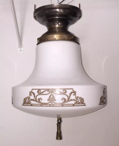 Antique Fixture Globe Wired School House Finial Decorative Art Great!!