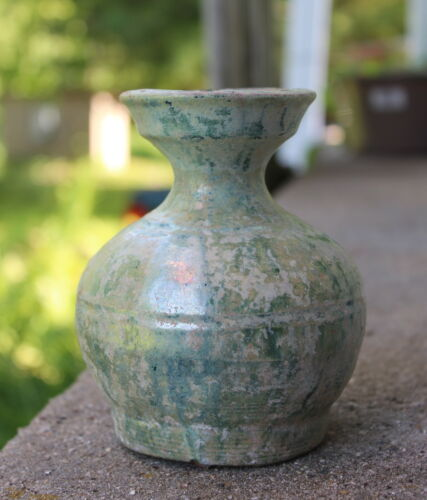 25-220AD Chinese Han Dynasty Green Glazed Hu Vase Urn - w/ HK Authenticity