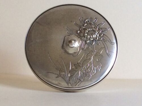 Antique Japanese Silver Plated Covered Mirror w/Embossed Flower,Meiji,circa 1880