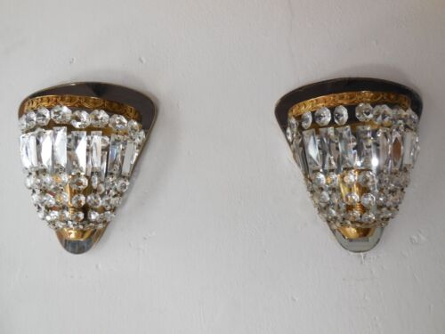 ~OLD French Crystal Prisms Bronze Sconces Empire Rare Beautiful Vintage Mirrors~