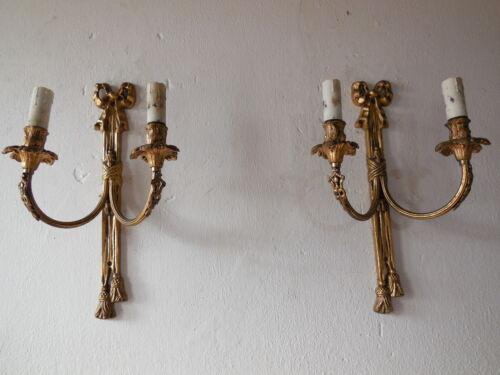 ~c1900 French Cast Bronze Bows & Tassels Beautiful Sconces Vintage Original Old~
