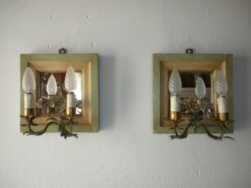 ~c 1900 Venetian Mirror Tole Porcelain Roses Sconces Italy Rare Green & Yellow~