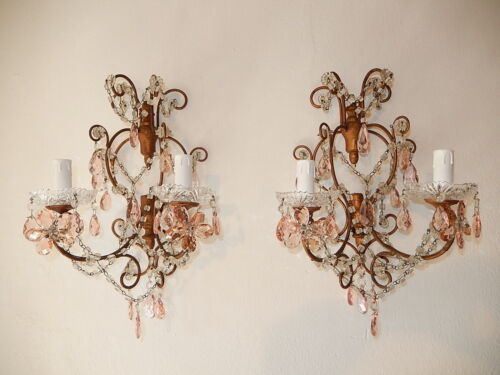 ~c 1920 French Maison Bagues Pink Flower Style Prisms Sconces~