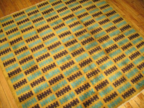 Vintage Yellow Turkish Oushak Konya Deco Square Rug Size 5'4''x5'4''