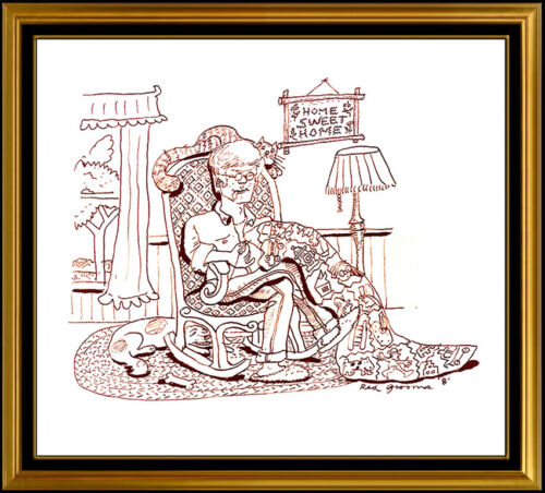 RED GROOMS Original Ink DRAWING Hand Signed Caricature Modern Art painting Rare