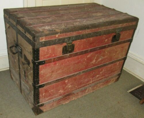 """LOUIS VUITTON ANTIQUE STEAMER TRUNK EARLY EMBALLEUR LABEL C-1870 VERY LARGE 39"""""""