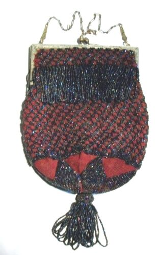ANTIQUE VICTORIN BEADED BAG, PURPLE BEADS AND MAGENTA MESH SEE CLOSEUP