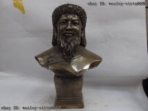 Chinese bronze copper ancientry Inner Mongolia hero Genghis Khan figurine Statue