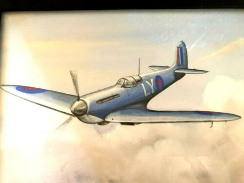 World War II Submarine Spitfire Later  MK, Signed Portrait Mounted Ready To Hang