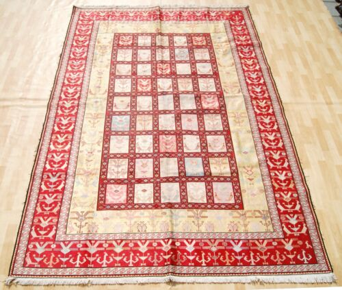 DECORATIVE RED RECTANGLE EMBROIDERED  KILIM RUG WOOL 20+ AREA RUGS 7X10ft