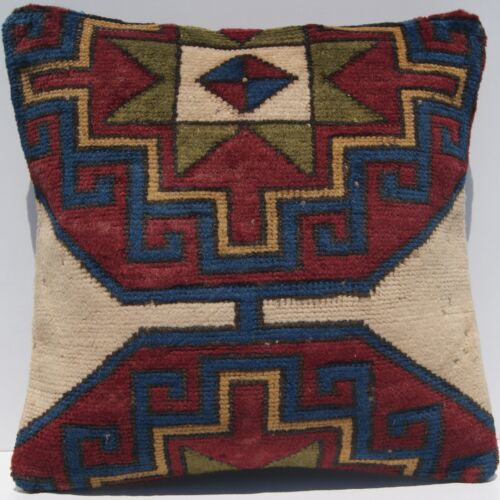 """18""""X18"""" DECORATIVE PILLOW COVER TURKISH MULTI COLORED SQUARE WOOL AREA RUGS 20+"""