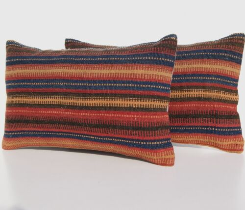 """ROOM DECOR KURDISH PILLOW COVERS WOOL RECTANGLE TWO STRIPED AREA RUGS 20""""x12"""""""