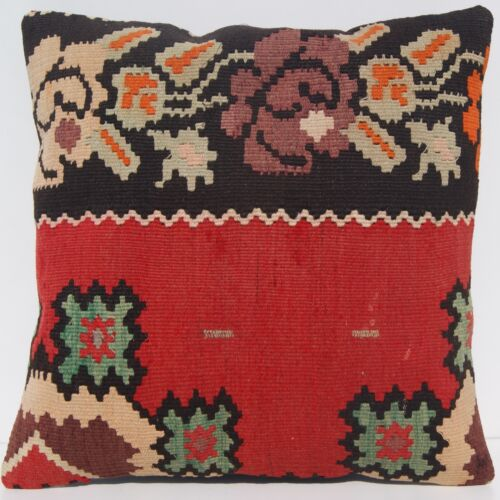 """18""""X18"""" PRIMITIVE HOME DECOR PILLOW YUGOSLAVIAN RED SQUARE WOOL AREA RUGS 30+"""