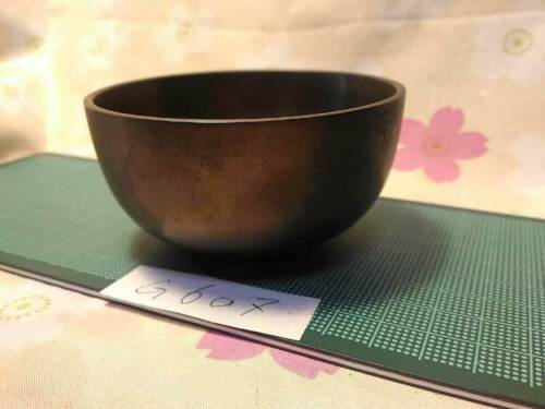 """3.465"""" Japanese Vintage Buddhist Bell G607 Clear Sound Long and Short Wave"""